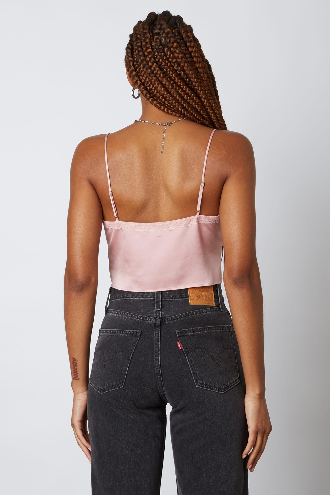 Cotton Candy Satin Tie Front Cami Top - Side Cropped Image