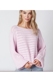 Cotton Candy Slouchy Pointelle Knit Sweater - Product Mini Image
