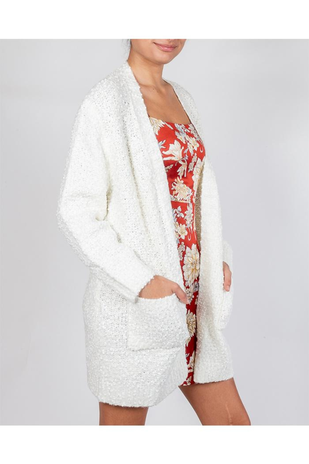 Cotton Candy Snowball White Cardigan - Side Cropped Image