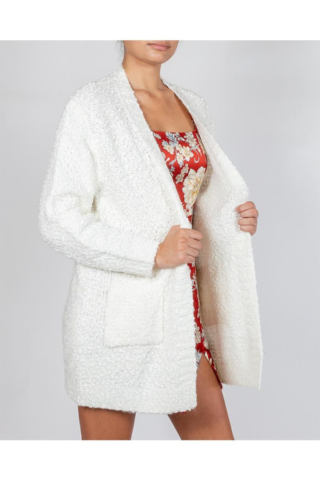 Cotton Candy Snowball White Cardigan - Front Full Image