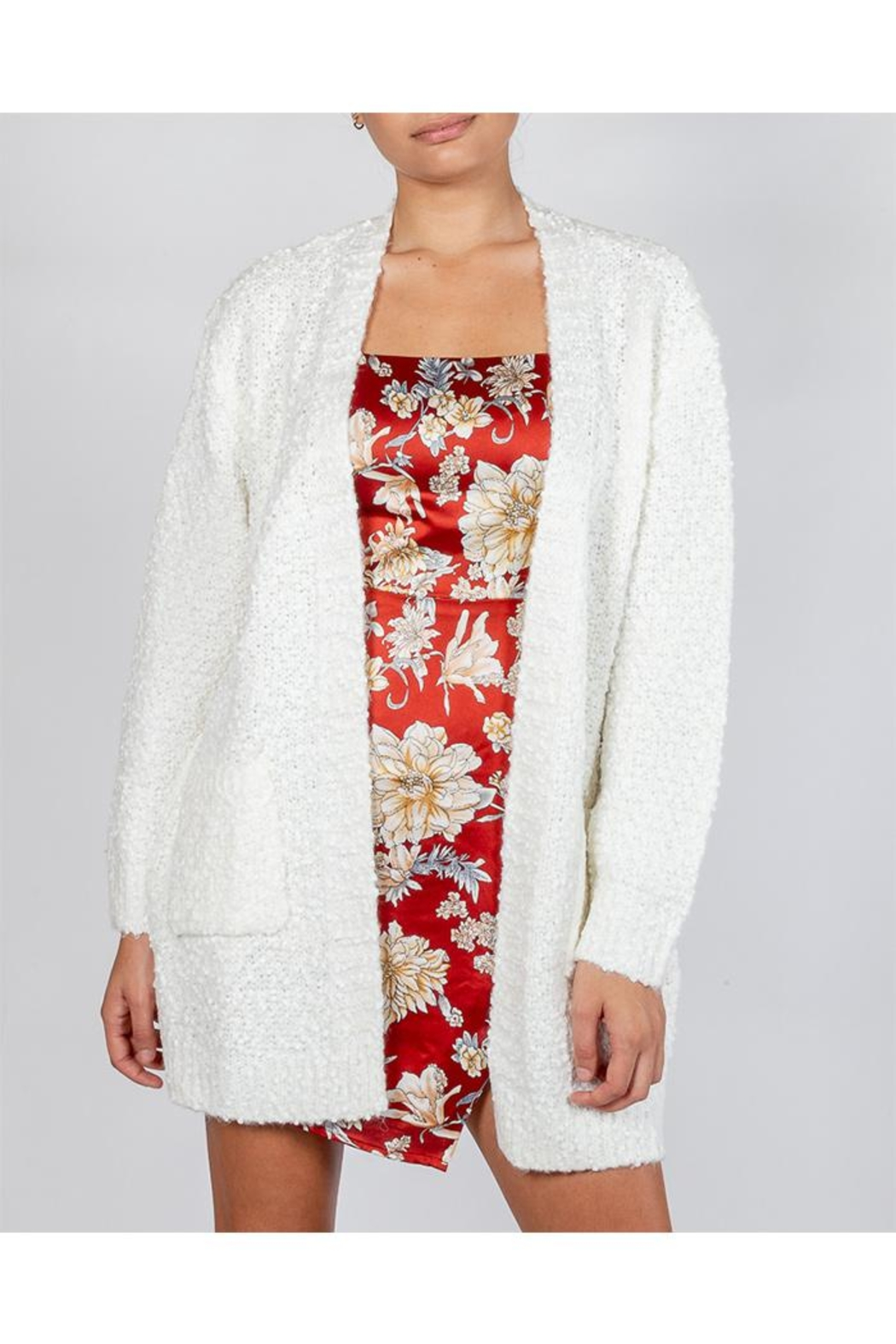 Cotton Candy Snowball White Cardigan - Main Image