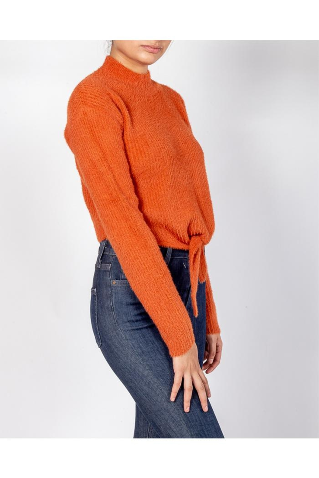 Cotton Candy Soft Front-Tie Sweater - Front Full Image