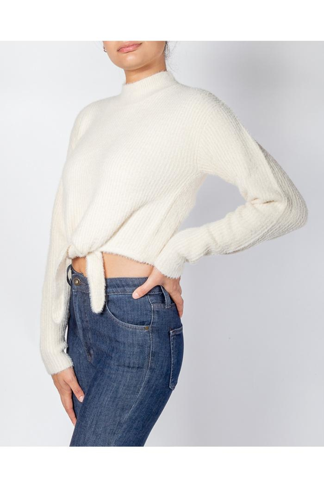 Cotton Candy Soft Front-Tie Sweater - Side Cropped Image