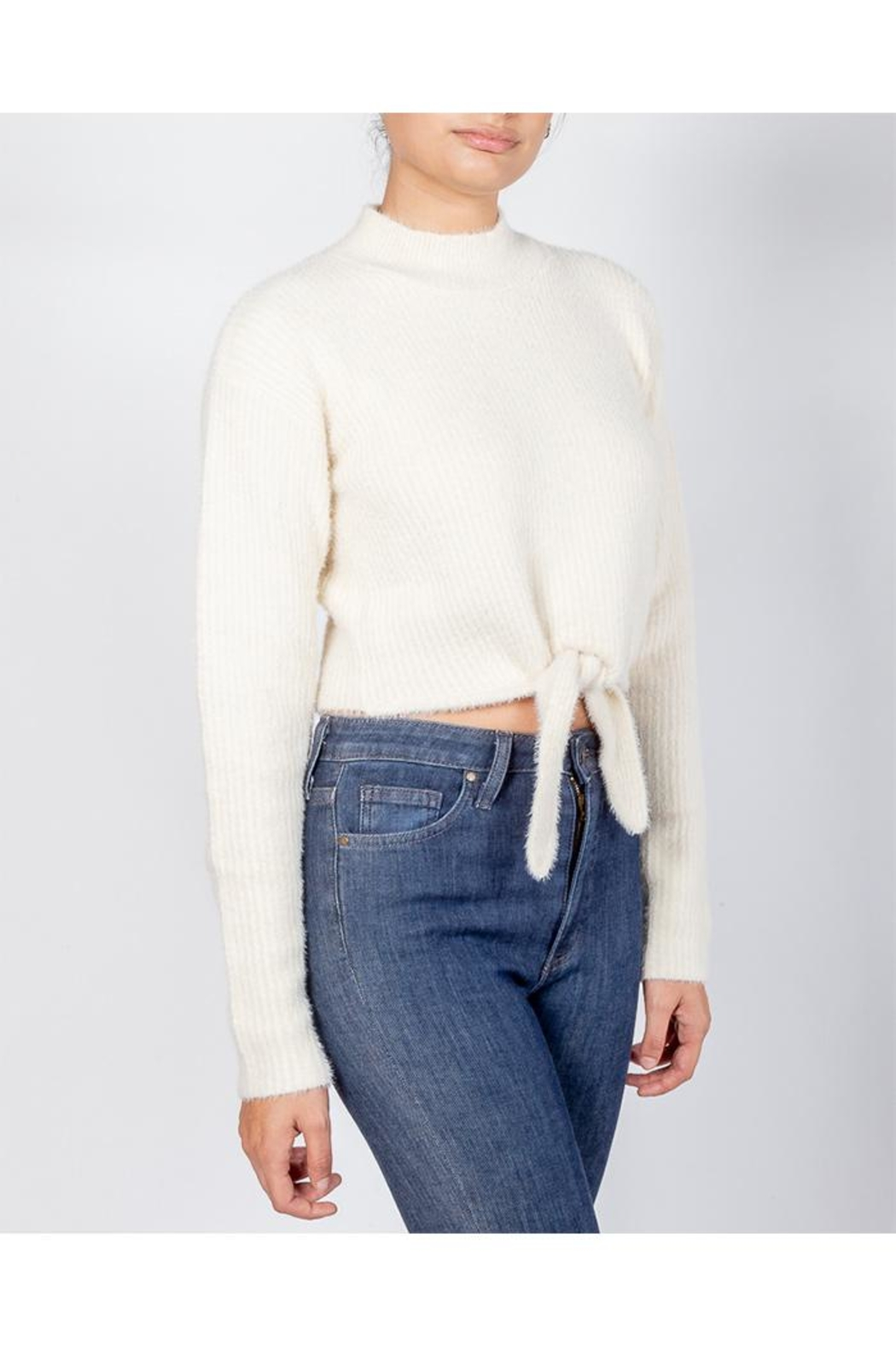 Cotton Candy Soft Front-Tie Sweater - Main Image
