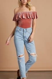 Cotton Candy Velvet Ots Bodysuit - Front cropped
