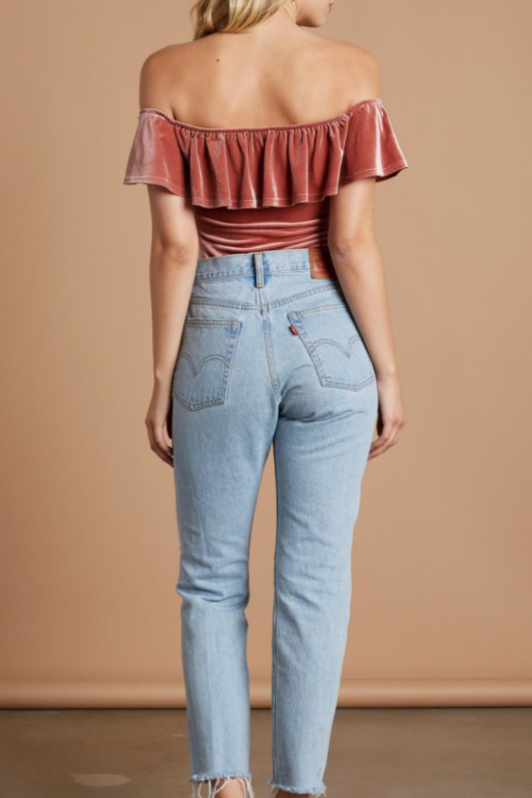Cotton Candy Velvet Ots Bodysuit - Side Cropped Image