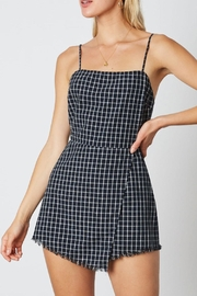 Cotton Candy Window Pane Romper - Front cropped