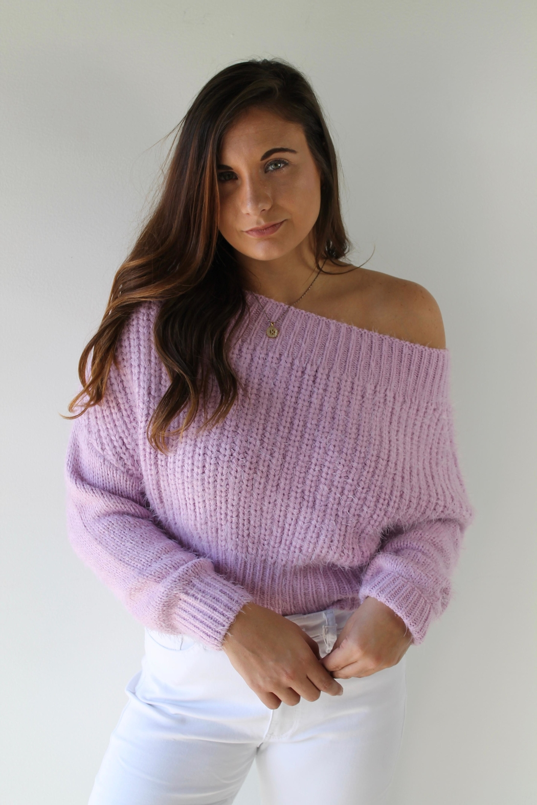 Cotton Candy LA Aspen Lilac Sweater - Front Cropped Image
