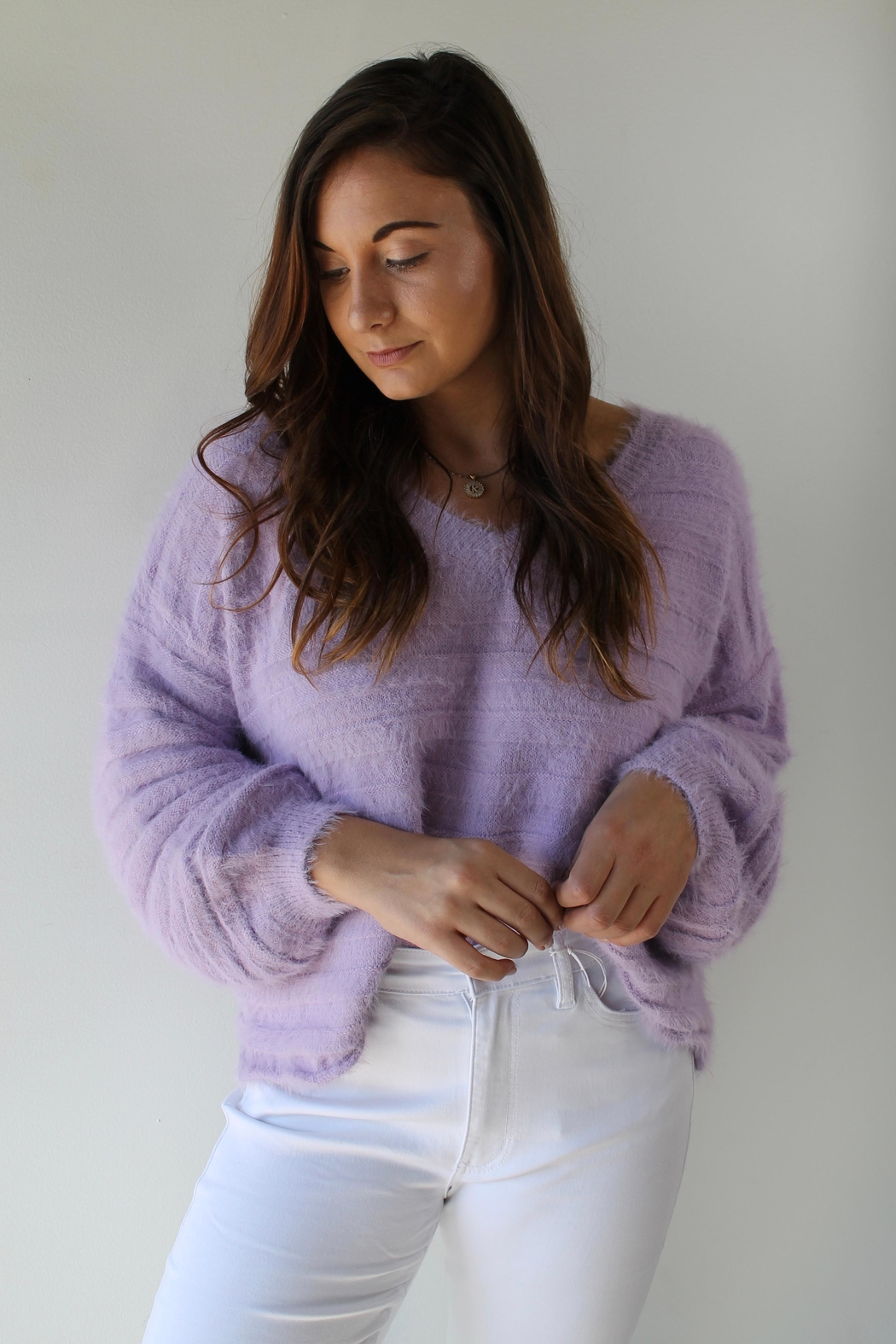 Cotton Candy LA Brecklyn Sweater - Side Cropped Image
