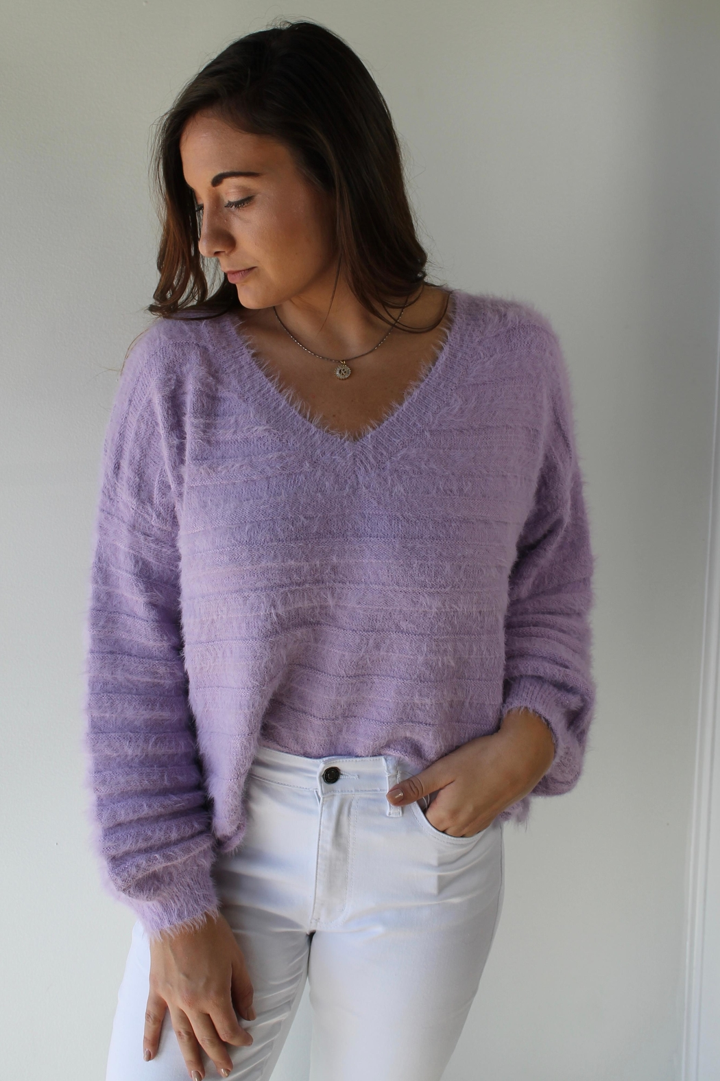 Cotton Candy LA Brecklyn Sweater - Front Cropped Image