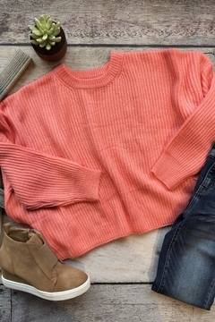Cotton Candy LA Coral Cropped Sweater - Alternate List Image