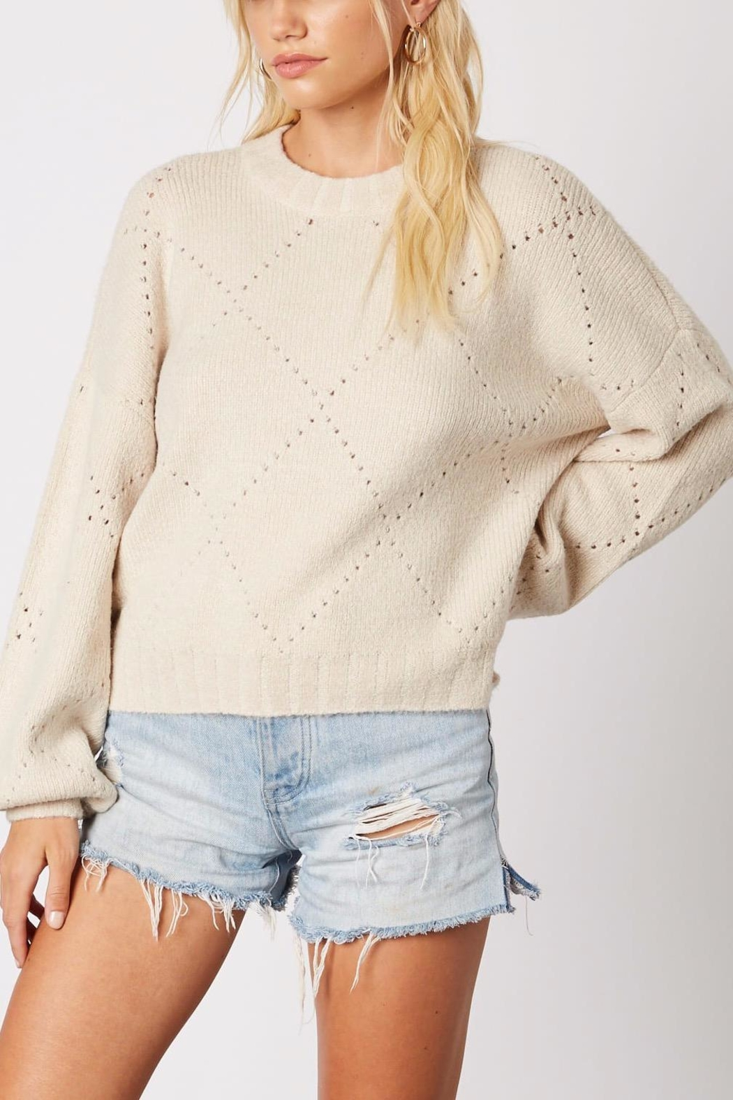 Cotton Candy LA Cream Pointelle Sweater - Front Full Image