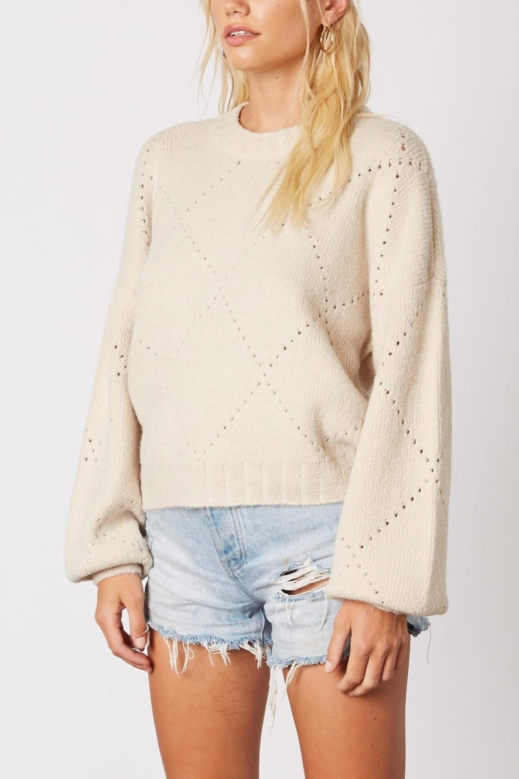 Cotton Candy LA Cream Pointelle Sweater - Side Cropped Image