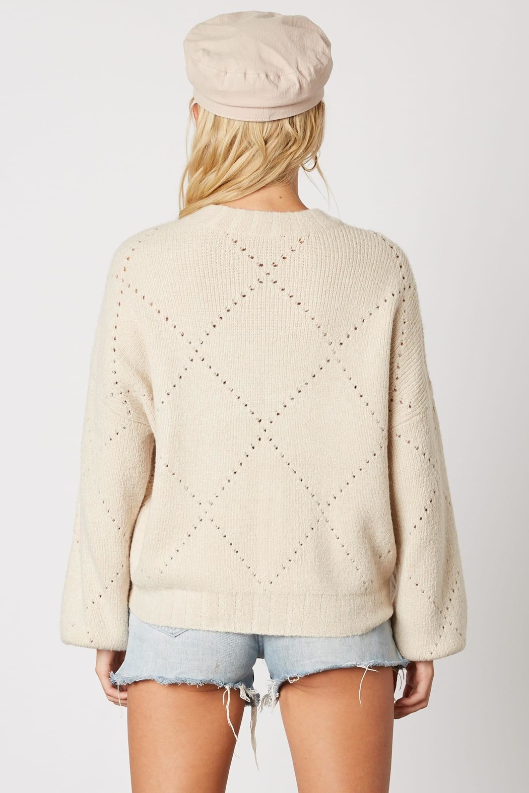 Cotton Candy LA Cream Pointelle Sweater - Back Cropped Image