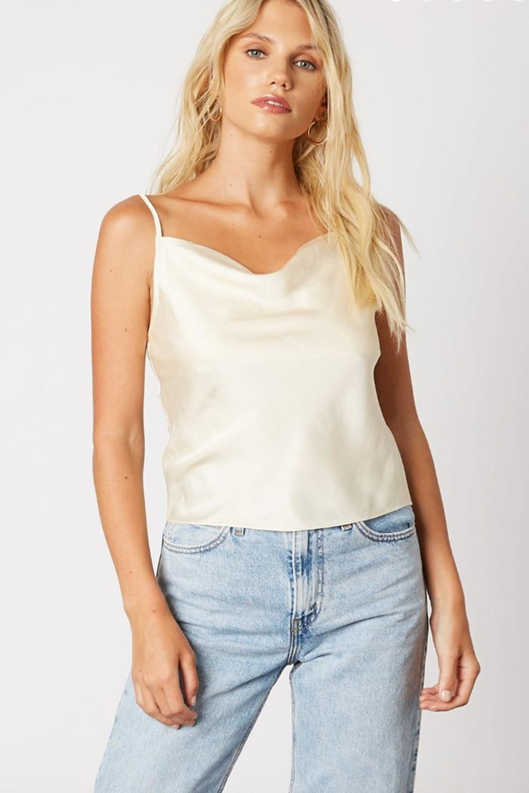 Cotton Candy LA Cream Satin Cami - Front Cropped Image