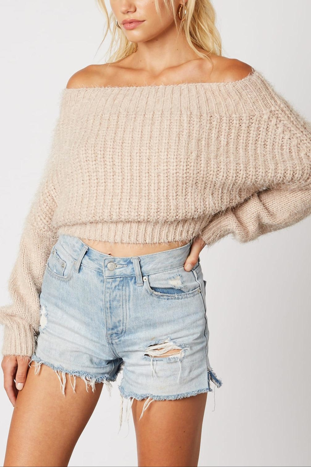 Cotton Candy LA Crop Eyelash Sweater - Front Cropped Image