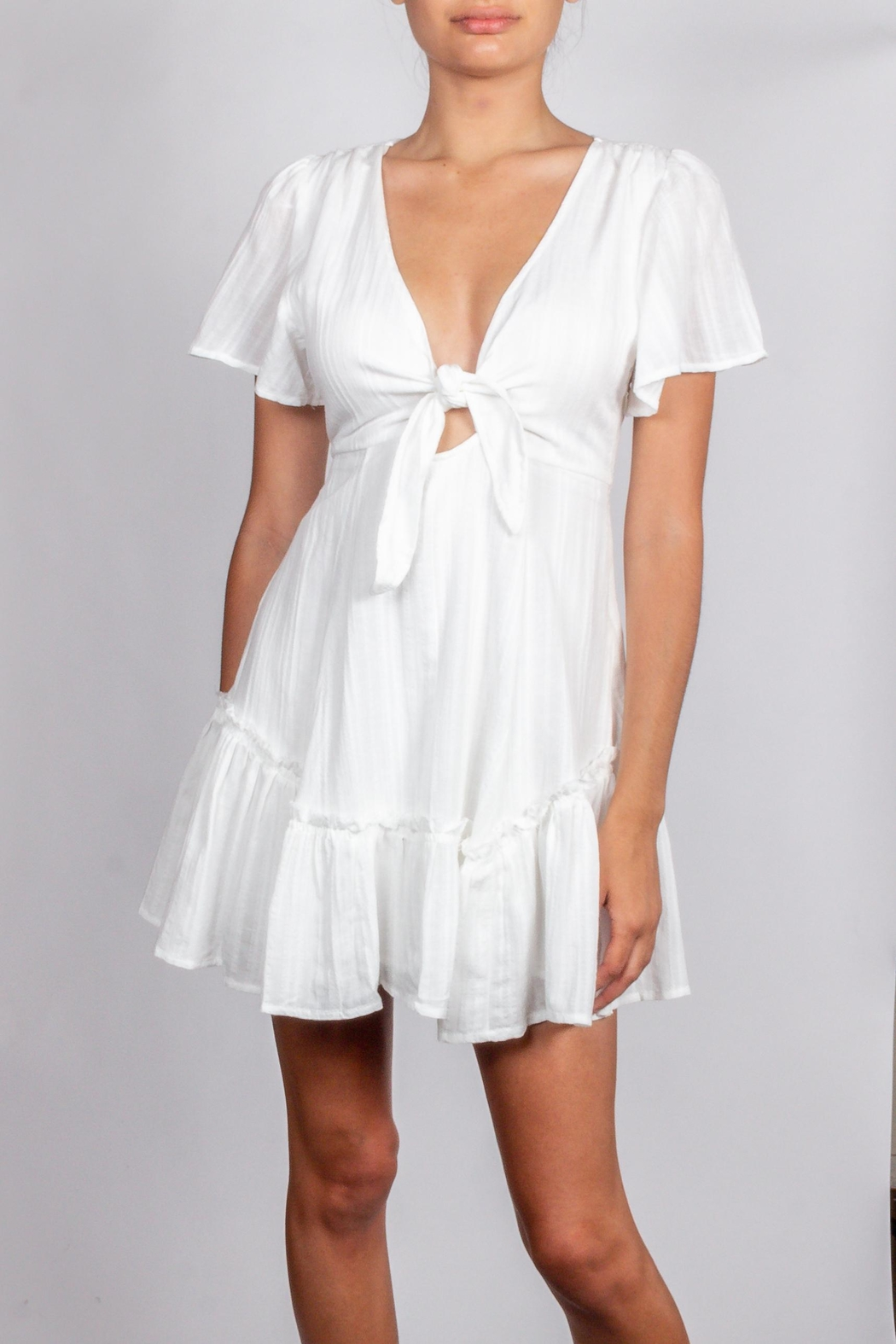 Cotton Candy LA Detailed-White-Tie Chest Dress - Side Cropped Image