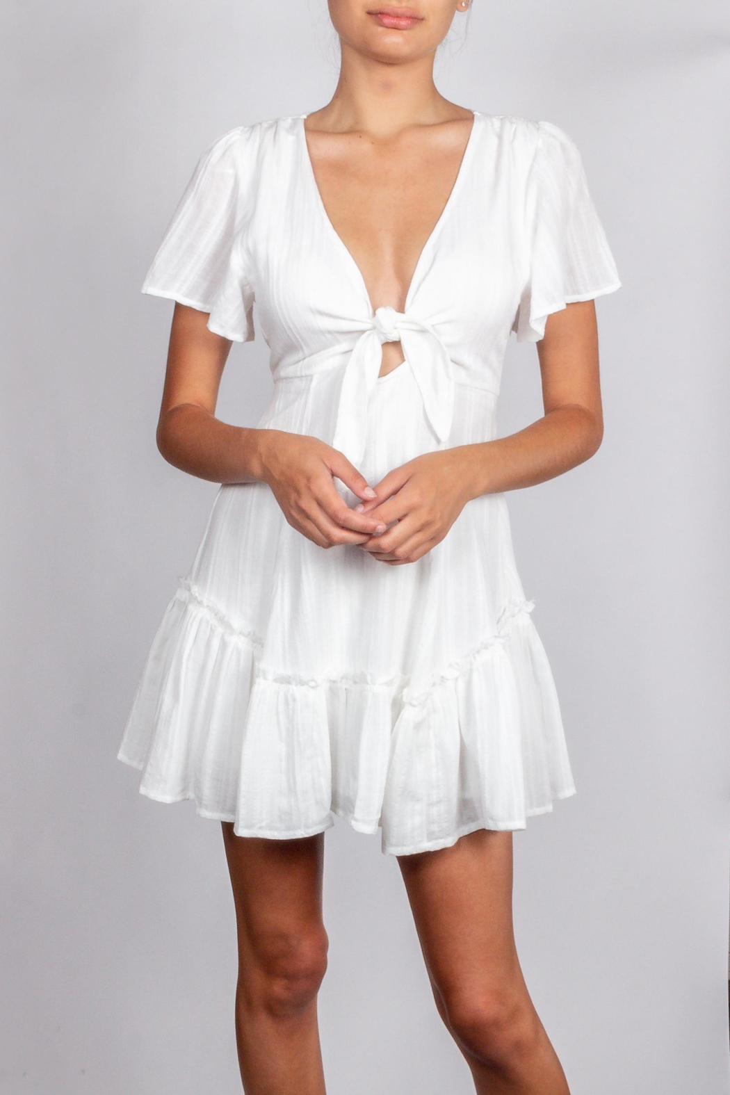 Cotton Candy LA Detailed-White-Tie Chest Dress - Front Full Image