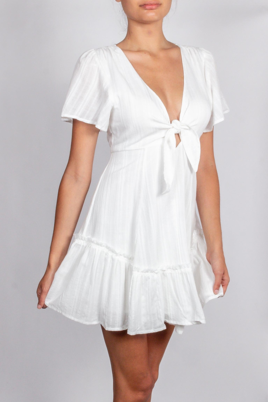 Cotton Candy LA Detailed-White-Tie Chest Dress - Back Cropped Image