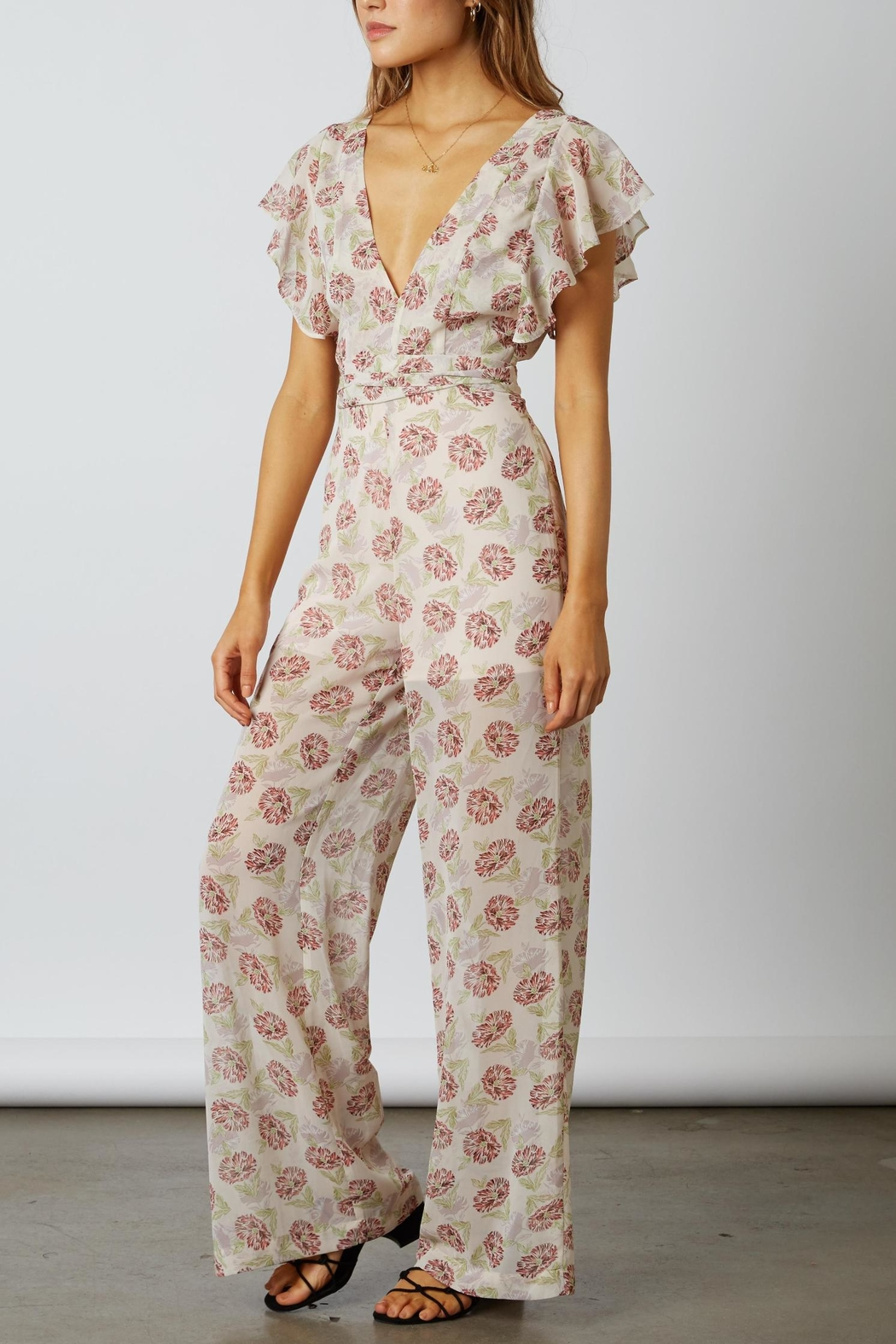 Cotton Candy LA Floral Chiffon Jumpsuit - Back Cropped Image