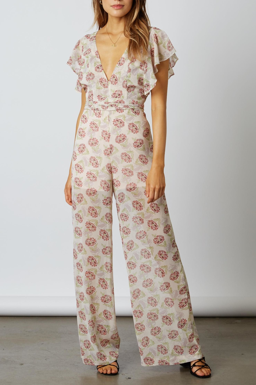 Cotton Candy LA Floral Chiffon Jumpsuit - Main Image