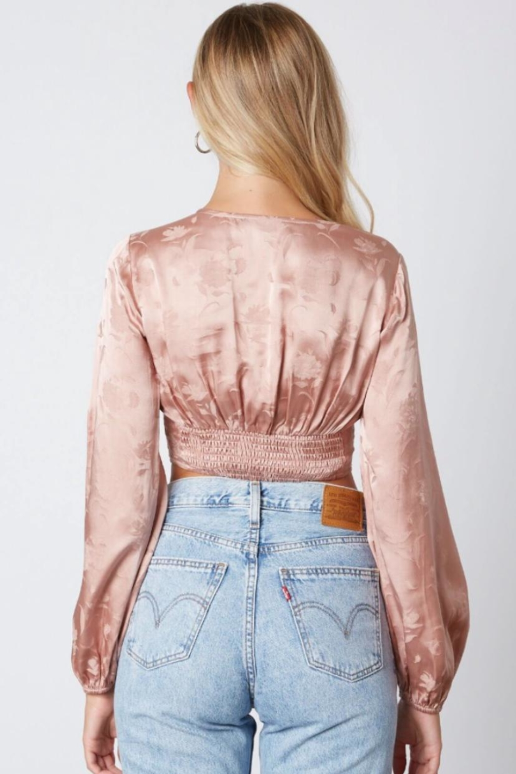 Cotton Candy LA Floral Embroidered Crop-Top - Front Full Image