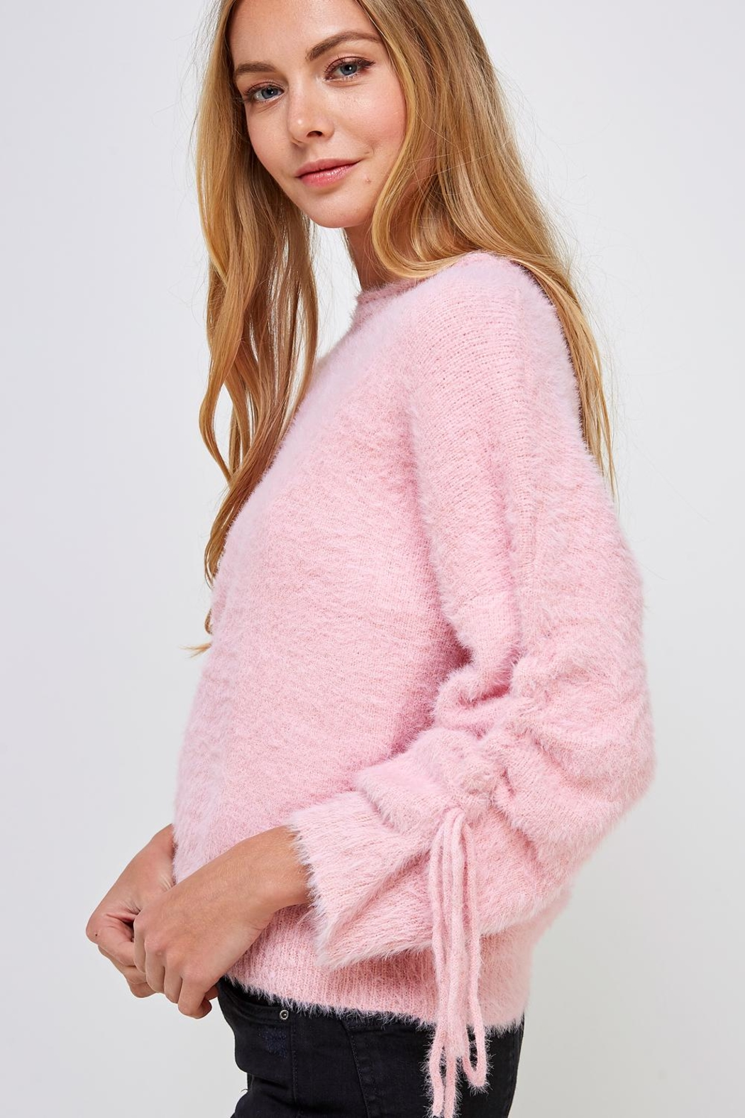 Cotton Candy LA Fuzzy Tie Sweater - Side Cropped Image