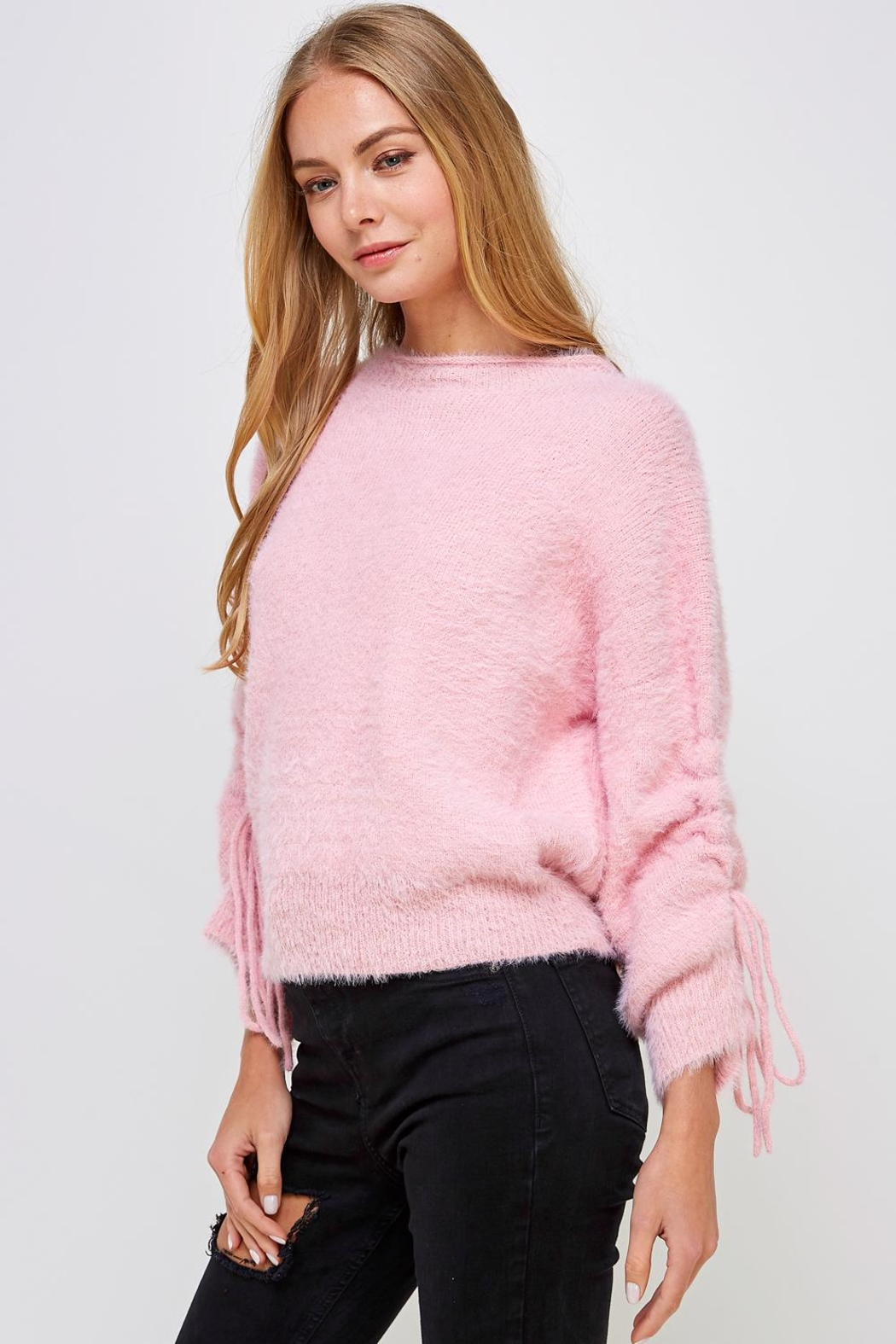 Cotton Candy LA Fuzzy Tie Sweater - Front Full Image