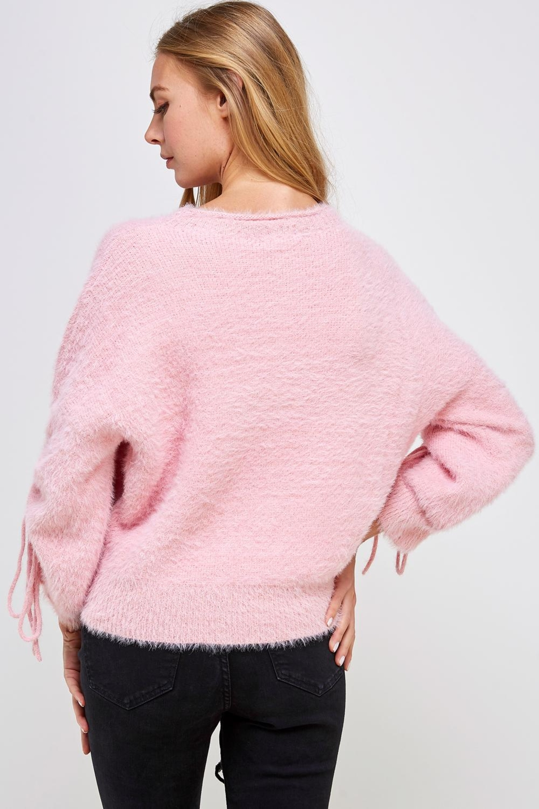 Cotton Candy LA Fuzzy Tie Sweater - Back Cropped Image