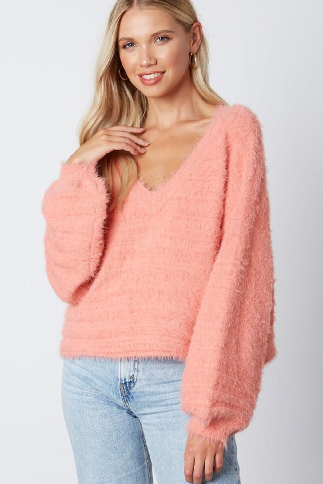 Cotton Candy LA Fuzzy v-Neck Sweaater - Front Full Image