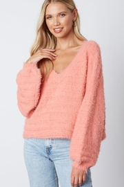 Cotton Candy LA Fuzzy v-Neck Sweaater - Front full body