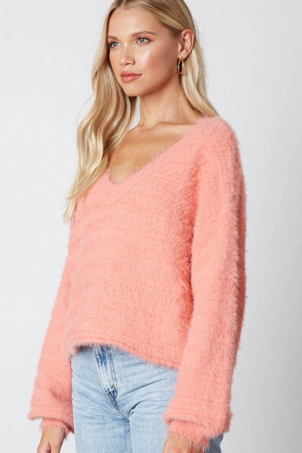 Cotton Candy LA Fuzzy v-Neck Sweaater - Side Cropped Image