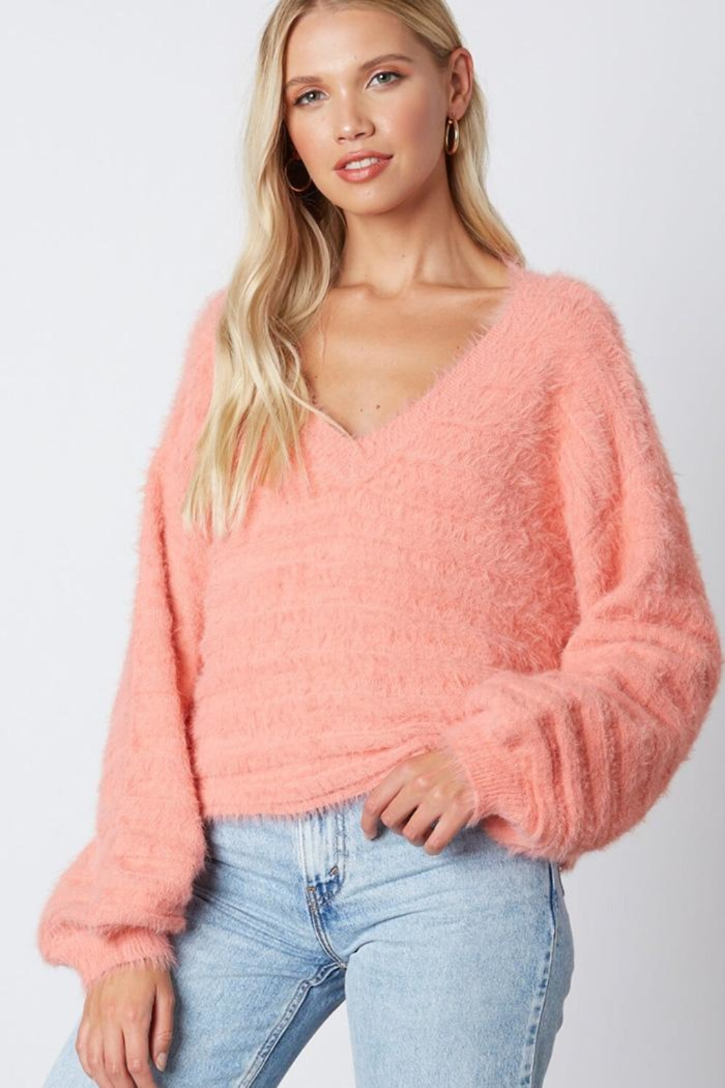 Cotton Candy LA Fuzzy v-Neck Sweaater - Main Image