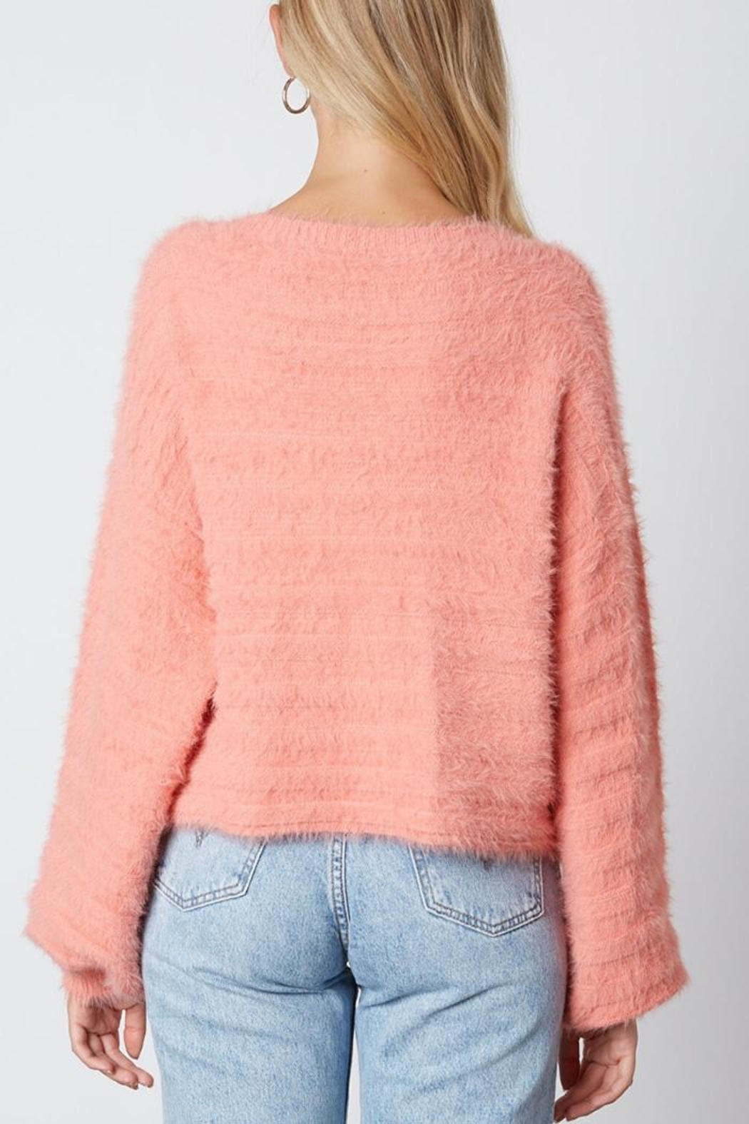 Cotton Candy LA Fuzzy v-Neck Sweaater - Back Cropped Image