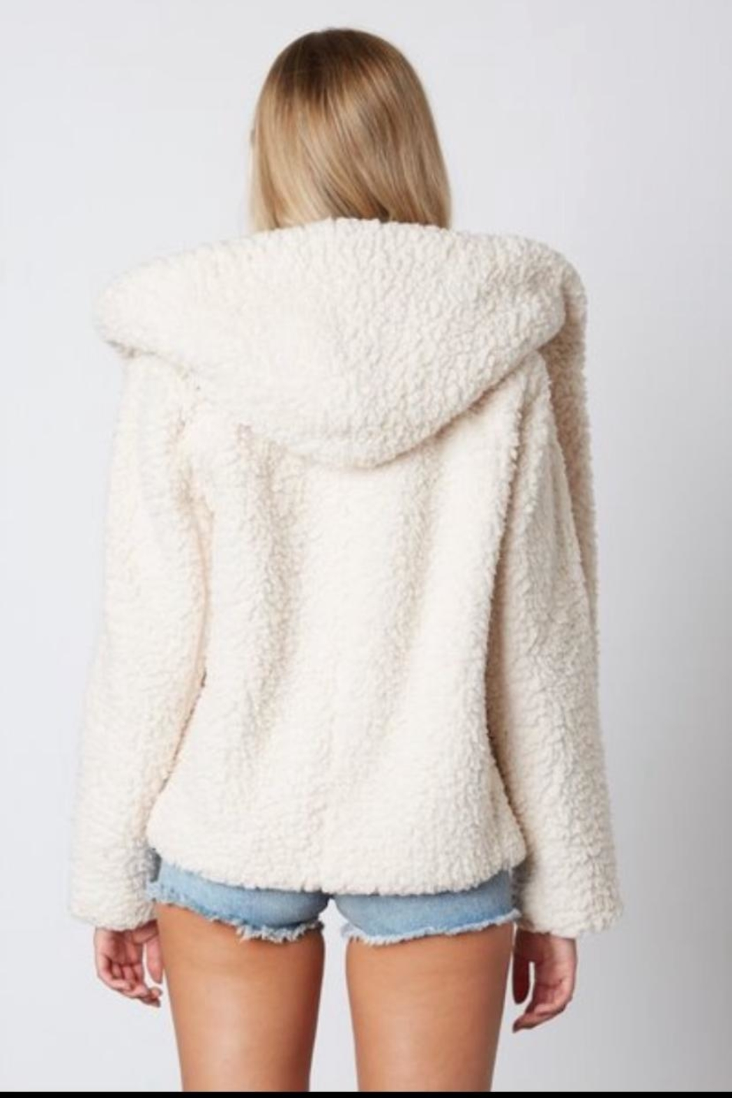 Cotton Candy LA Ivory Fur Jacket - Front Full Image