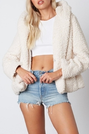 Cotton Candy LA Ivory Fur Jacket - Front cropped