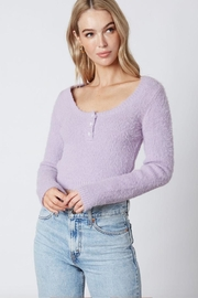 Cotton Candy LA Lavender Button Sweater - Product Mini Image