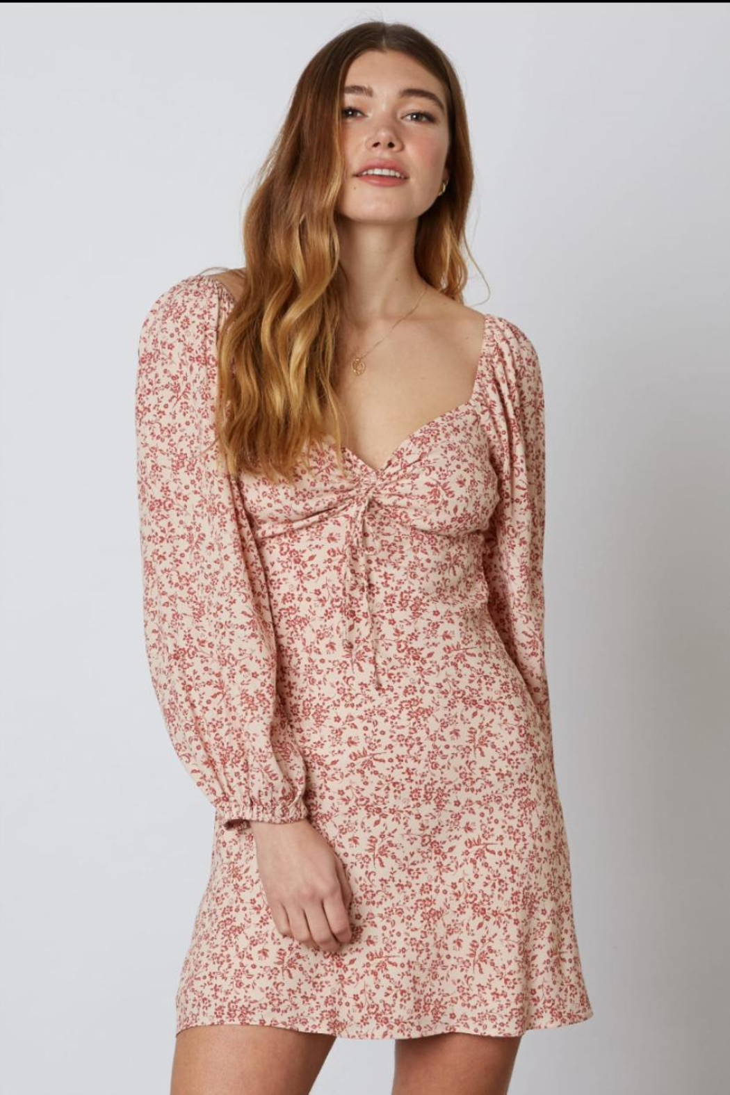 Cotton Candy LA Long-Sleeve Floral Dress - Front Full Image