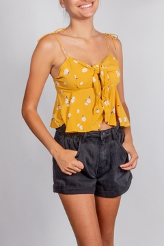 Cotton Candy LA Mustard Tie-Front Ruffle-Top - Product List Image