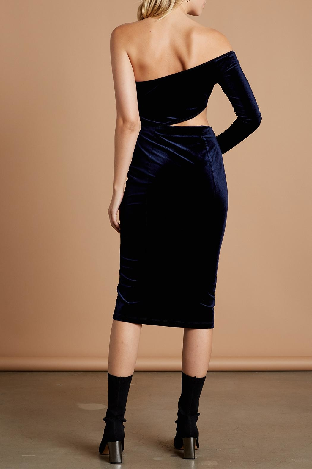 Cotton Candy LA Navy Velvet Midi - Side Cropped Image
