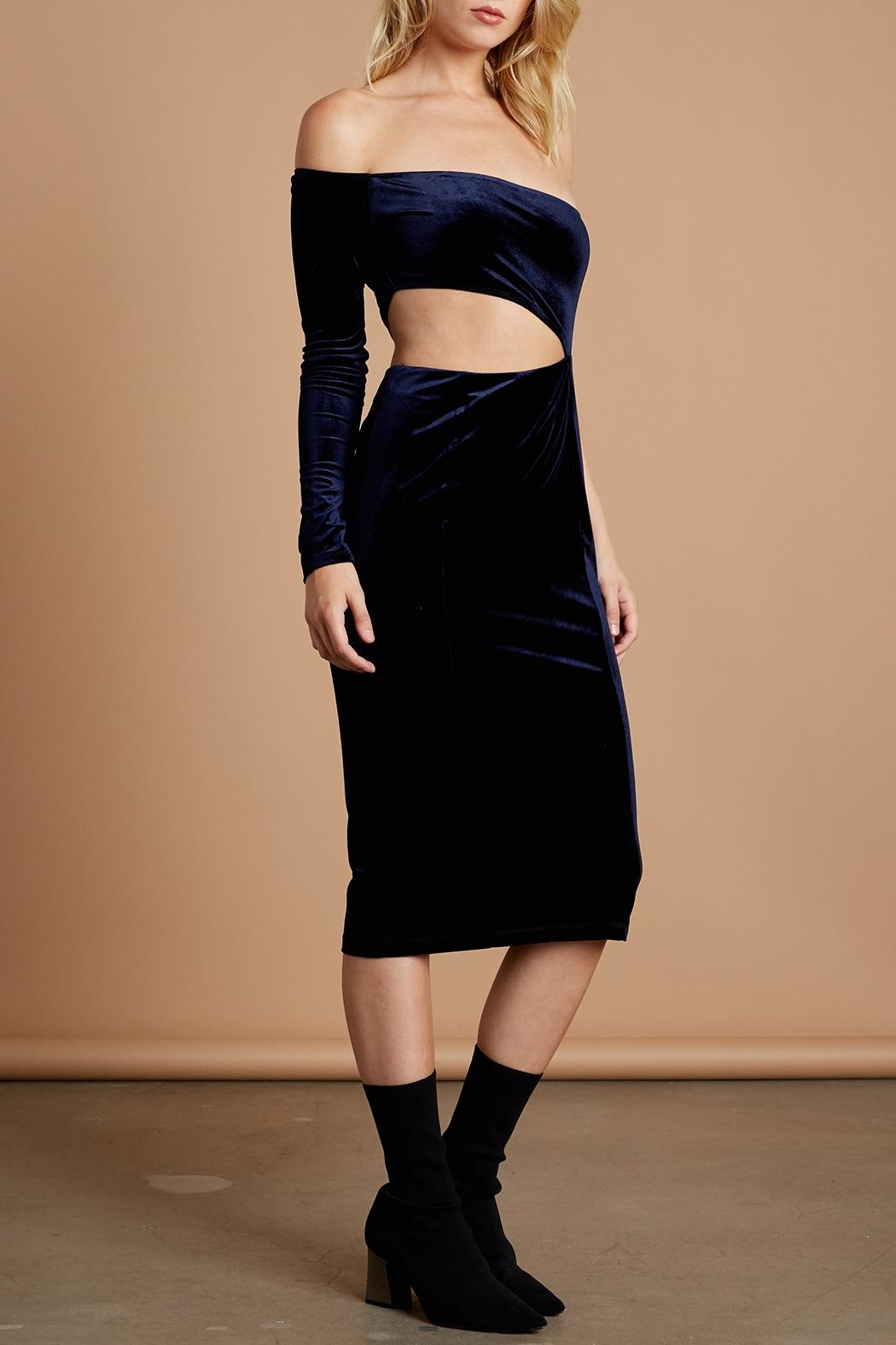 Cotton Candy LA Navy Velvet Midi - Front Full Image