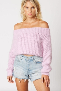 Cotton Candy LA Off-Shoulder Cropped Sweater - Product List Image