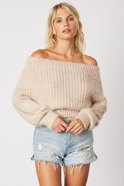 Cotton Candy LA Off Shoulder Sweater - Front cropped