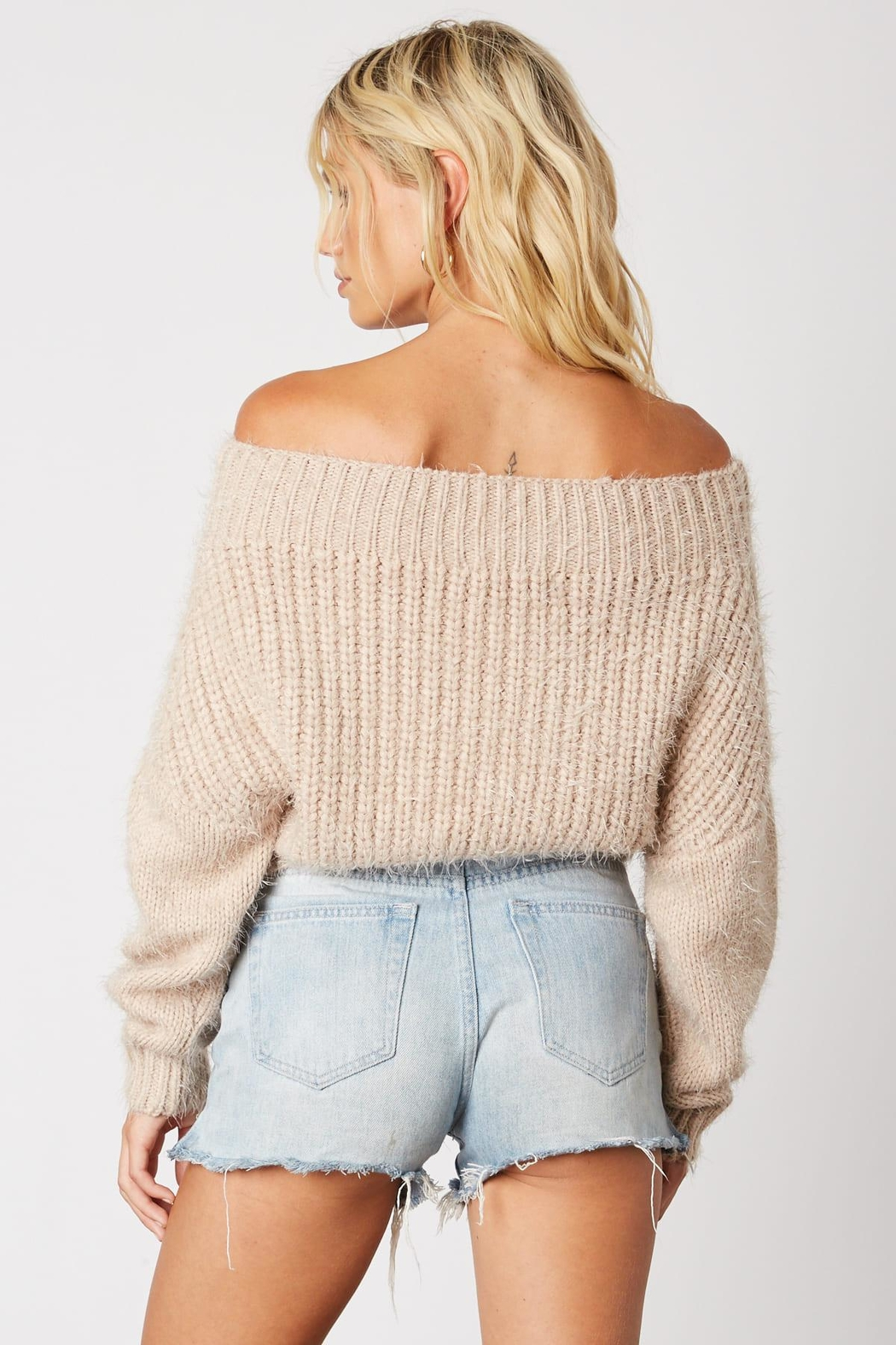 Cotton Candy LA Off Shoulder Sweater - Front Full Image