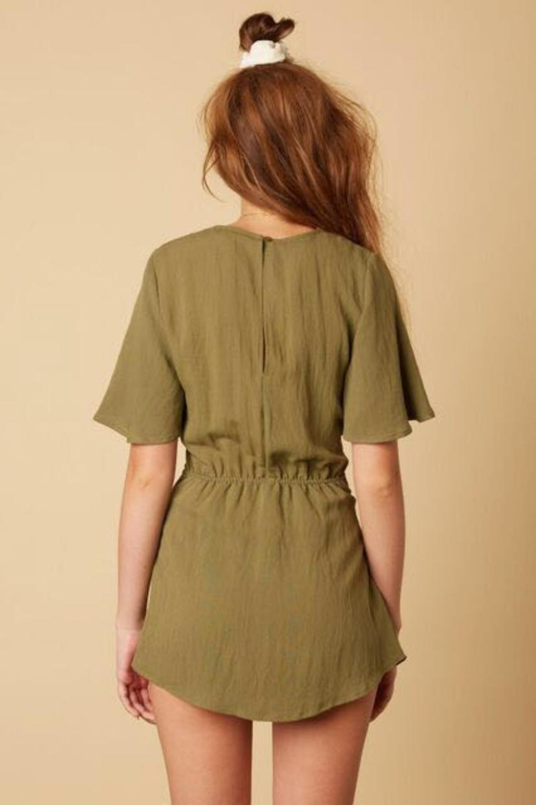 Cotton Candy LA Olive Green Romper - Front Full Image