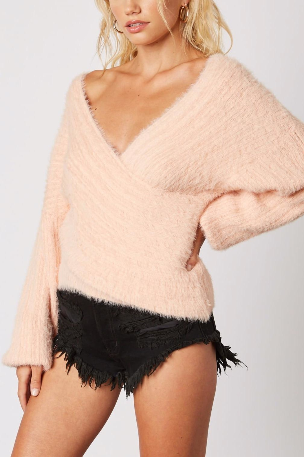Cotton Candy LA Plunging-Loose Peach Sweater - Front Full Image