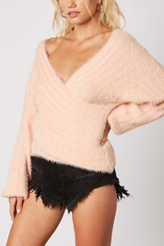 Cotton Candy LA Plunging-Loose Peach Sweater - Front full body