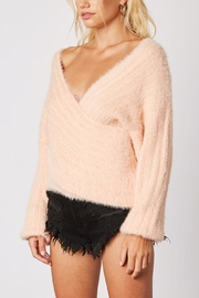 Cotton Candy LA Plunging-Loose Peach Sweater - Side cropped