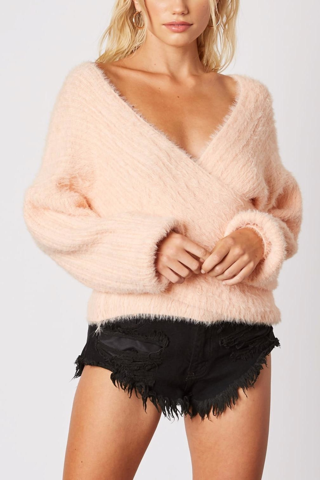 Cotton Candy LA Plunging-Loose Peach Sweater - Main Image