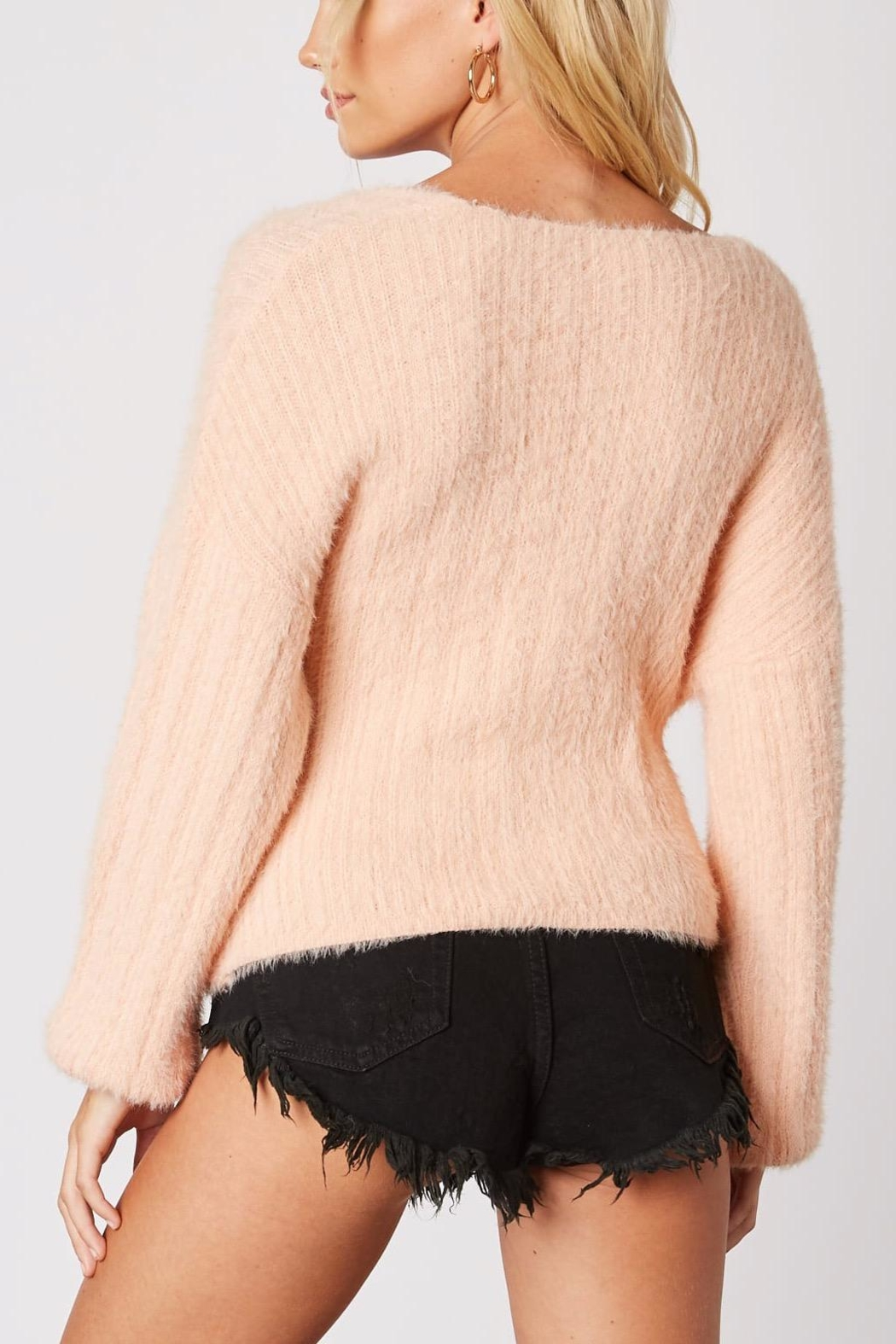 Cotton Candy LA Plunging-Loose Peach Sweater - Back Cropped Image